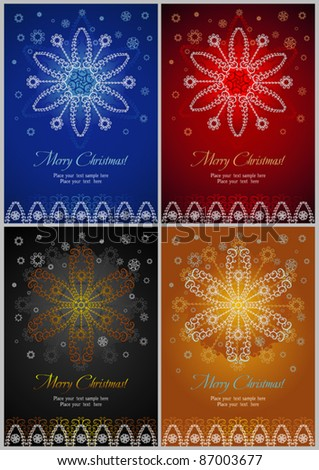 Presentation cards on Christmas theme Bright congratulatory cards with design of various snowflakes and a place for your information. - stock vector