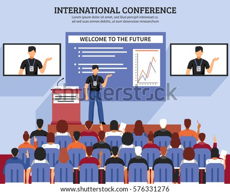 Presentation conference hall composition international conference welcome to the future descriptions vector illustration