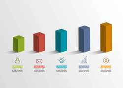 Presentation creative concept . Volume 3D infographic. With 5 options vector illustration EPS10.