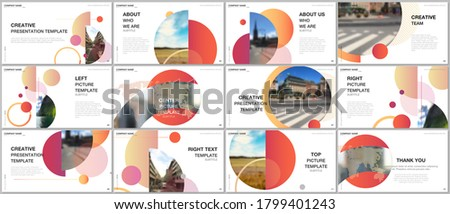 Presentation design vector templates, multipurpose template for presentation slide, flyer, brochure cover design, infographic report. Simple design background with circles, geometric round shapes. ストックフォト ©