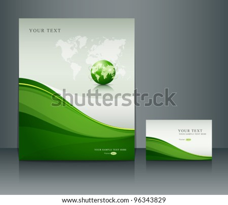 Presentation green globe of poster flyer and name-card design background, vector illustration