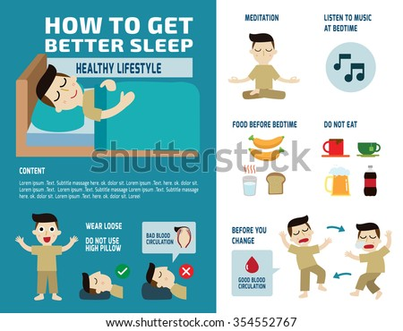 presentation how to get better sleep. isolated flat illustration on white and blue backdrop