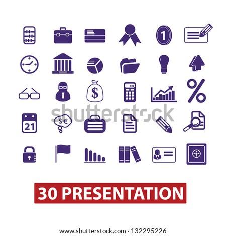presentation icons set, vector