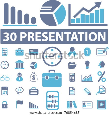 presentation icons, signs, vector illustrations