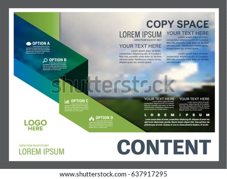magazine cover page template layout with abstract shapes bookle