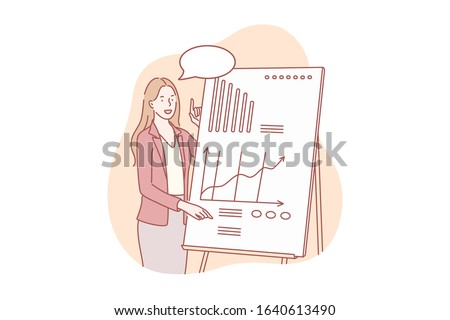 Presentation of business project concept. Young businesswoman shows presentation about company profit growth. Happy girl demonstrates project with graph and chart to investors. Simple flat vector