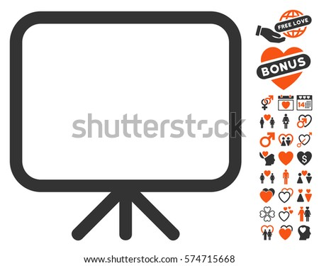 Presentation Screen pictograph with bonus decoration clip art. Vector illustration style is flat iconic symbols for web design, app user interfaces.