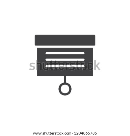 Presentation screen vector icon. filled flat sign for mobile concept and web design. Whiteboard projector simple solid icon. Symbol, logo illustration. Pixel perfect vector graphics #1204865785