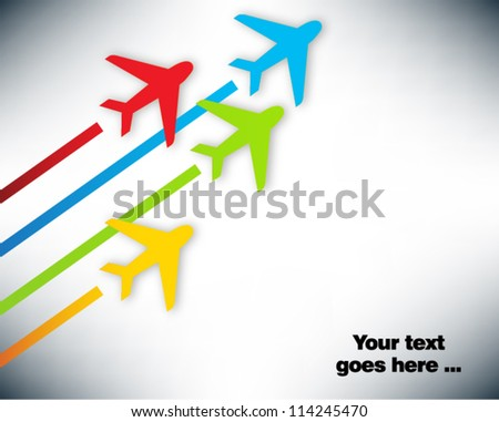 Presentation slide template editable at your choosing with your words. Directions and airplanes. Business background. Slide concept. Vector illustration.