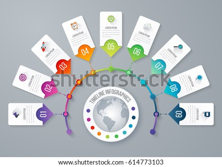 Presentation slide template editable at your choosing with your words EPS10. Numbered background 9 options. Business infographic. Slide concept. Vector illustration.