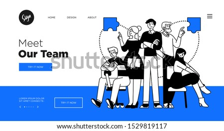 Presentation slide template or landing page website design. Business concept illustrations. Modern flat outline style. Teamwork concept