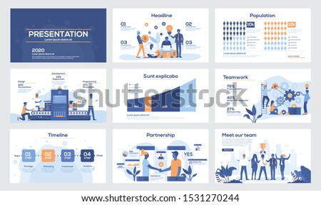 Presentation slide templates and business brochures. Set of modern minimal infographic elements for web, print, magazine, flyer, brochure, media, marketing and advertising concepts. Vector