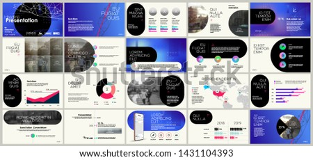 Presentation template, blue gradient and black infographic elements on white background.  Vector slide template for business project presentations and marketing.