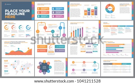 Presentation Template design. Business data graphs. Vector financial and marketing charts.