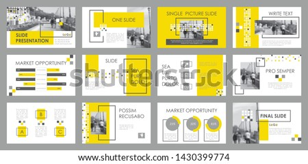 Presentation template. Elements for slide presentations. Use also as a flyer, brochure, corporate report, marketing, advertising, annual report, banner. Yellow,gray.