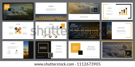 Presentation template for flyer, brochure, product, promotion, advertising,  report, banner, business, modern style on black and yellow color background. vector illustration #1112673905