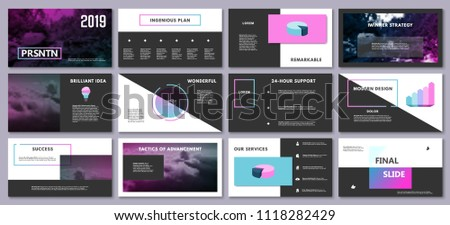 Presentation template for flyer, brochure, product, promotion, advertising,  report, banner, business, modern style on black and blue color background. vector illustration