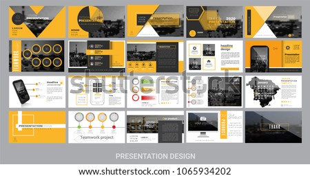 presentation template for promotion, advertising, flyer, brochure, product, report, banner, business, modern style on black and yellow color background. vector illustration