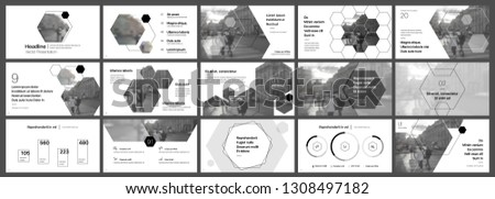 Presentation template. Hexagonal elements for slide presentations on a white background. Use also as a flyer, brochure, corporate report, marketing, advertising, annual report, banner. Vector