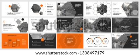 Presentation template. Hexagonal elements for slide presentations. Use also as a flyer, brochure, corporate report, marketing, advertising, annual report, banner. Vector infographics
