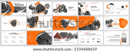 Presentation template. Orange elements for slide presentations on a white background. Use also as a flyer, brochure, corporate report, marketing, advertising, annual report, banner. Vector