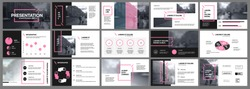 Presentation template, pink and black infographic elements on white background.  Vector slide template for business project presentations and marketing.