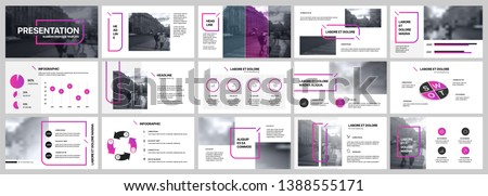 Presentation template, purple and black infographic elements on white background.  Vector slide template for business project presentations and marketing.