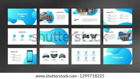Presentation template set with soft gradient blue color. Suitable for any project purpose like company profile, brochure, proposal, annual report and advertising