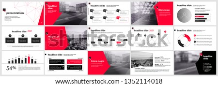 Presentation template, slides with charts, diagrams and infographics in black red colors. Vector graphic elements for reports, marketing, product presentation, projects and services.