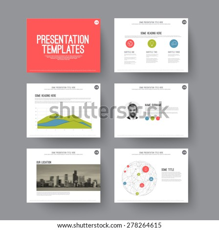 Presentation template - various slides and layouts with graphs and charts. Modern flat design