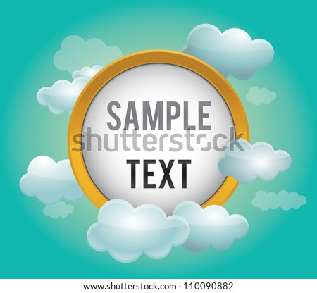 Presentation template with clouds - vector illustration