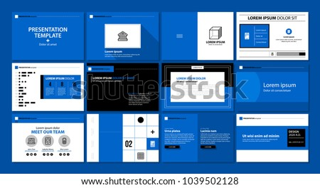 Presentation template with 12 pages in modern flat style. Useful for advertising, annual reports and web design