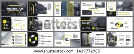 Presentation template, yellow and black infographic elements. Vector slide template for business project presentations and marketing.