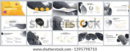 Presentation template. Yellow Elements for slide presentations on a white background. Use also as a flyer, brochure, corporate report, marketing, advertising, annual report, banner. Vector
