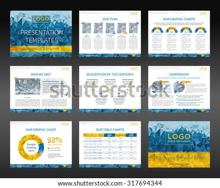 Presentation templates and business brochures. Layout design. Low-poly style illustration - cyan and yellow version. Vector