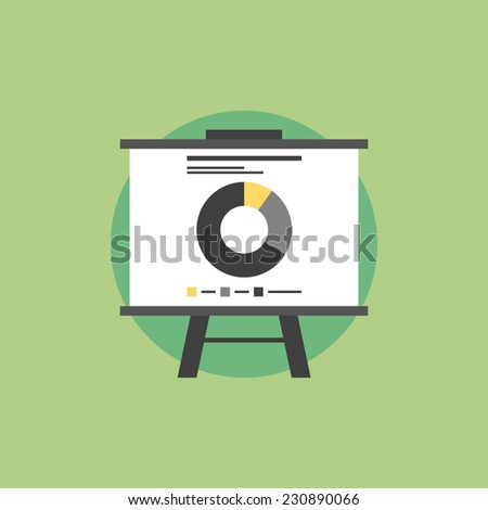 Presentation whiteboard with market data and statistics for  future marketing campaign and business strategies. Flat icon modern design style vector illustration concept.