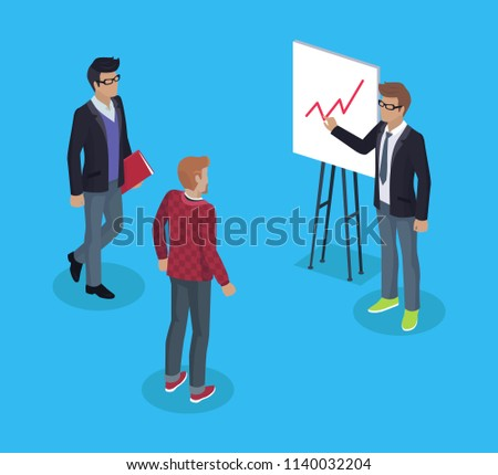 Presenter man on conference with businessman and freelance photographer. Presentation visualization of information data on whiteboard. Chart vector