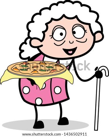 Presenting Pizza - Old Woman Cartoon Granny Vector Illustration
