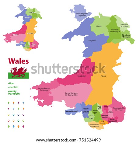 Preserved counties of Wales vector administrative map with districts(cities, counties and city boroughs). Welsh-language forms are given in parentheses, where they differ from the English ones.