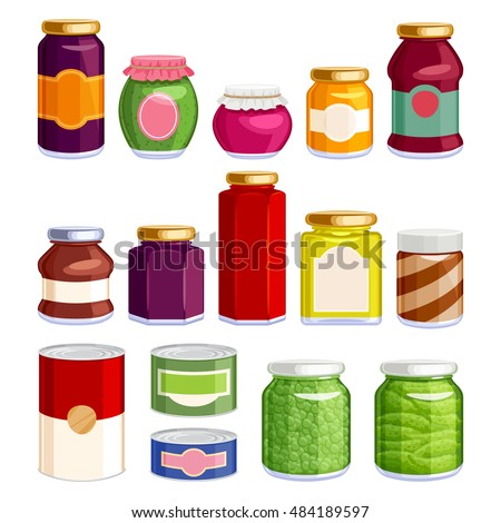 preserved food in jars and cans