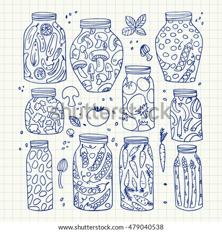 Preserved hand-drawn vector vegetables in jars isolated on graph paper