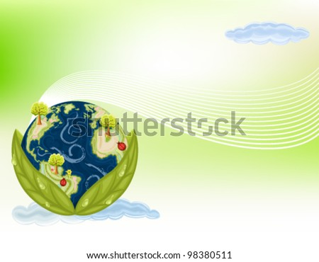 Preserving Nature - planet Earth inside green leaves. Gradient Mesh used. Vector file saved as EPS AI8, all elements layered and grouped.