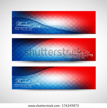 President Day in United States of America with colorful header set vector design