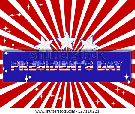 President's Day background with a beautiful text on the banner and stars.  Vector illustration.