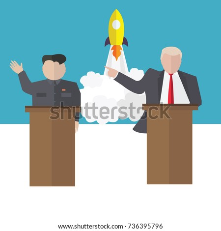 Presidential candidate speaks to people from tribune. Flat tribune Icon web. President debates. Vector illustration Stockfoto ©
