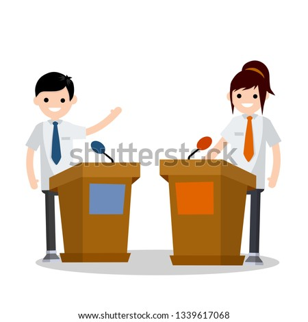 Presidential debate. Dialogue between man and woman behind the podium. speech of lecturer at lectures. Political election and voting. Controversy girl and guy in suits. Red vs blue. Flat cartoon
