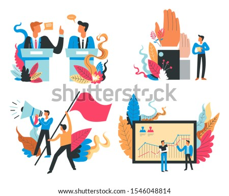Presidential election and politicians campaigns isolated icons vector. Political debates and hands up voting, strike and statistical chart. Electors competition, country policy, choosing president