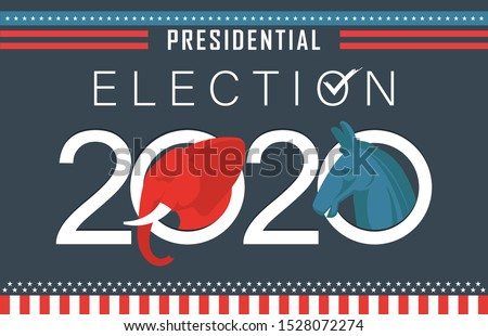 Presidential Election Banner Background for year 2020. American Election campaign between democrats and republicans. Electoral symbols of both political parties.