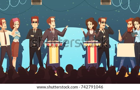 Presidential election candidates engaged in political debates in front of potential voters silhouettes cartoon poster vector illustration