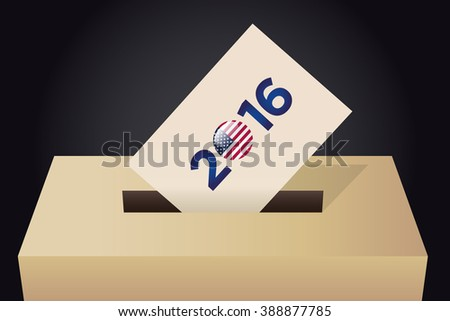 Presidential Election Day 2016 Vote Box. Vote 2016 Text. American Flag's Symbolic Elements - Red Stripes and White Stars. Black Background.